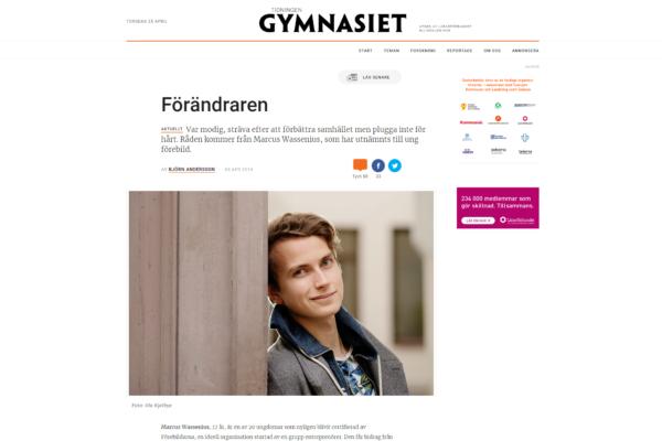 """Tidningen Gymnasiet visar """"Förändraren"""""""